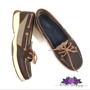 Sperry women's dark brown leather boat shoes 7M